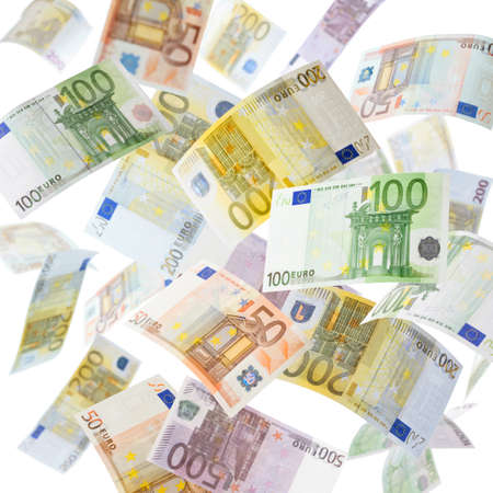 eur: Many flying Euro currency paper money in the air  Stock Photo