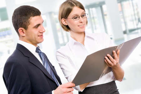 Happy young business people working together Stock Photo - 13854546