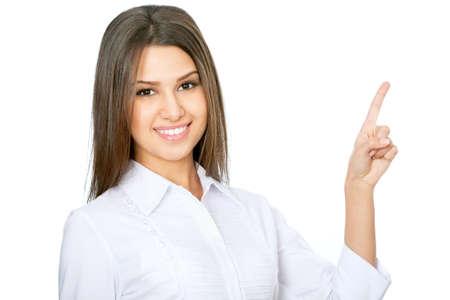 dedo se�alando: Joven de negocios hermosa mujer ejecutiva apuntando a copyspace