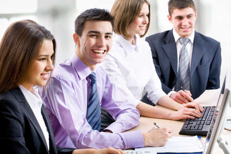 businessteam: Young business people are working in the meeting room. Stock Photo