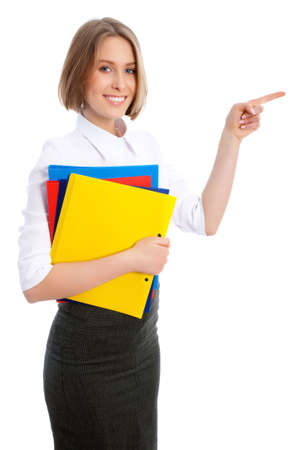 Young beautiful business woman executive pointing at copyspace   photo