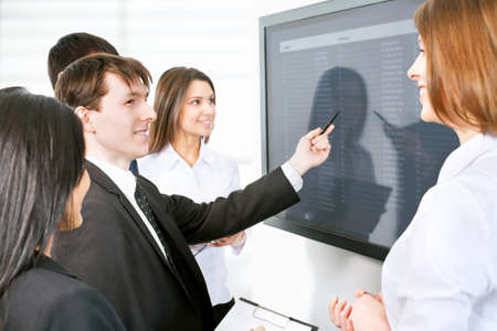 Business people is working together with the screen Stock Photo - 14735036