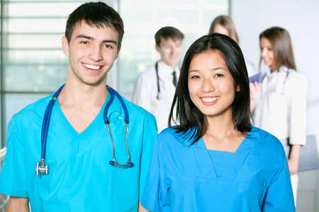 Portrait of a successful medical team at work in hospital Stock Photo - 14735046