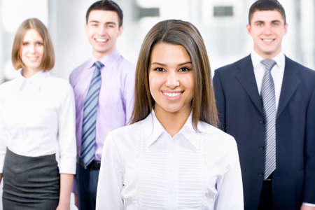 Portrait of female leader with cheerful team Stock Photo - 14735021