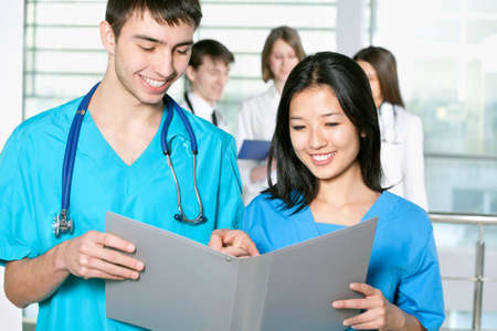 Portrait of a successful medical team at work in hospital Stock Photo - 14858359