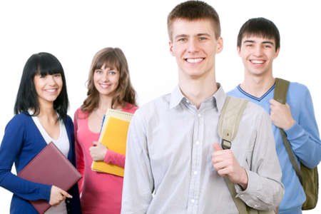 latin american ethnicity: Group of smiling students. Isolated over white background