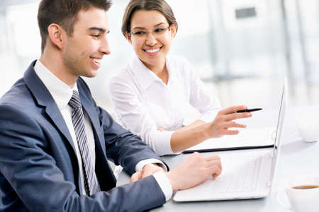 life partner: Young business people working together at office