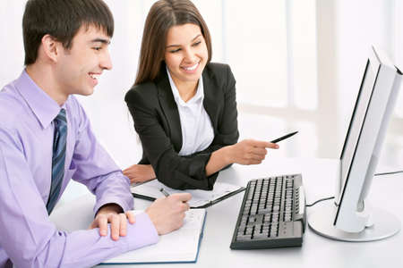 businessteam: Business-team. Group of business people smiling in an office