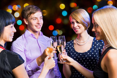 Portrait of several friends celebrating New Year Stock Photo - 16099265