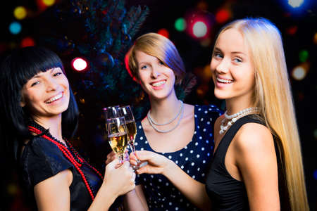Portrait of several girls celebrating New Year Stock Photo - 16099250