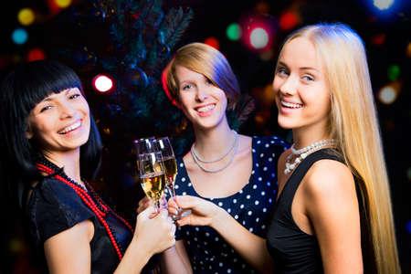 Portrait of several girls celebrating New Year Stock Photo - 16099250
