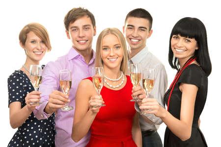 brindisi champagne: Ritratto di colleghi intelligenti con flauti di champagne augurandovi Buon Natale Archivio Fotografico