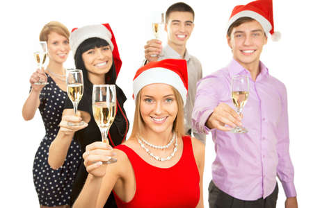Portrait of smart colleagues with flutes of champagne wishing you Merry Christmas photo