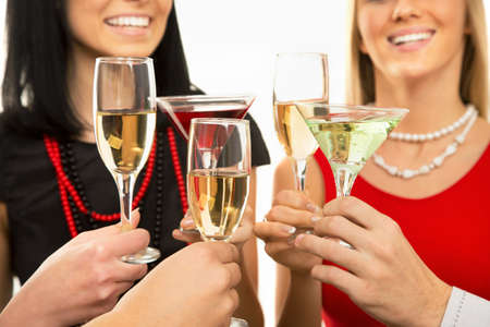 Happy Christmas. Image of people hands with crystal glasses full of champagne photo