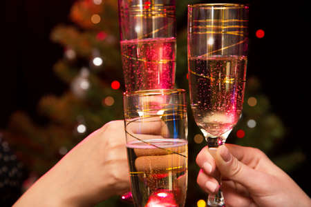 special events: Image of people hands with crystal glasses full of champagne Stock Photo