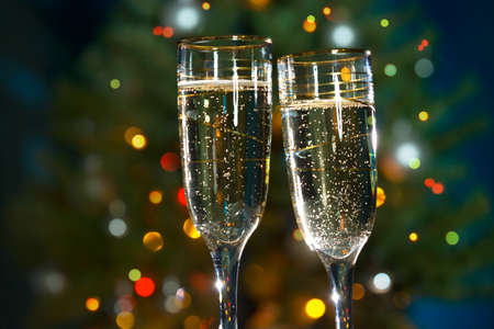 festive occasions: Image of people hands with crystal glasses full of champagne Stock Photo