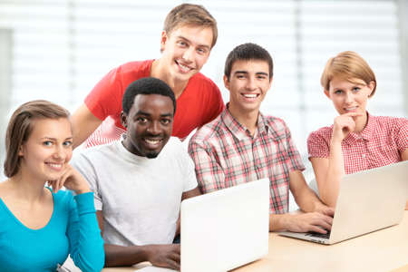 International group of students studying together in a university Stock Photo - 16375134