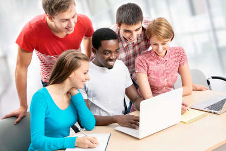 International group of students studying together in a university Stock Photo - 16375137