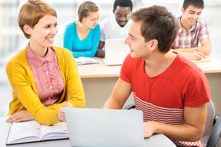 International group of students studying together in a university Stock Photo - 16375090
