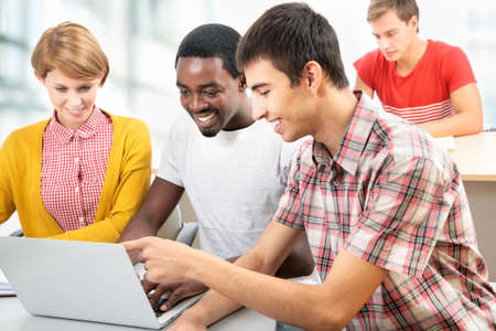 International group of students studying together in a university Stock Photo - 16375094