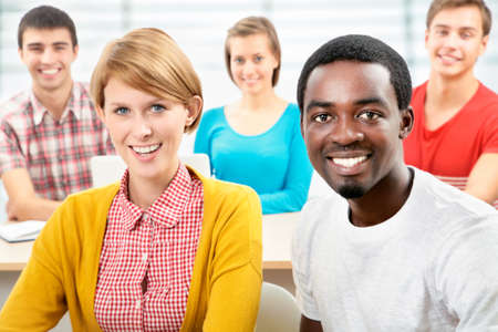 japanes: International group of students studying together in a university Stock Photo