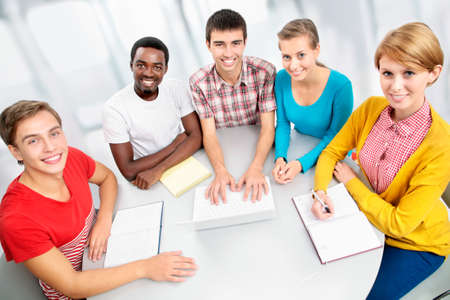 International group of students studying together in a university Stock Photo - 16375088