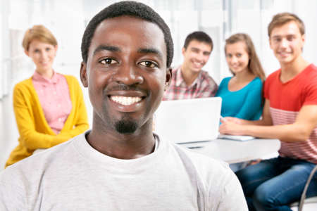 International group of students studying together in a university Stock Photo - 16375168