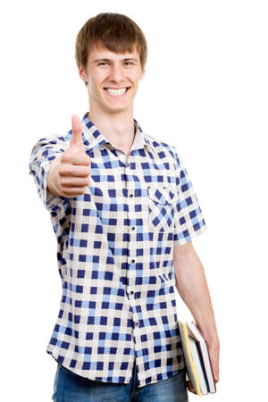 Casual man smiling doing the ok sign over a white background Stock Photo - 17516751