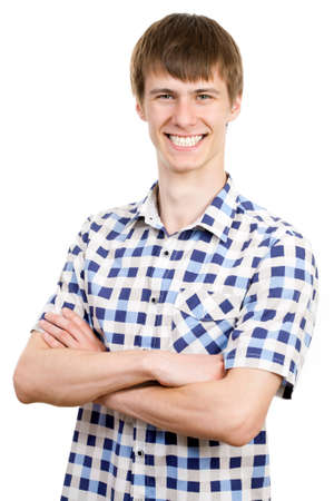 Portrait of young smiling man, isolated on white Stock Photo - 17817102