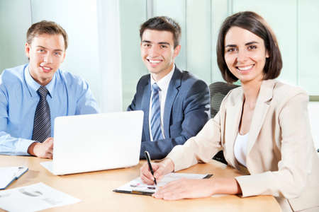 Young business people working in the office Stock Photo