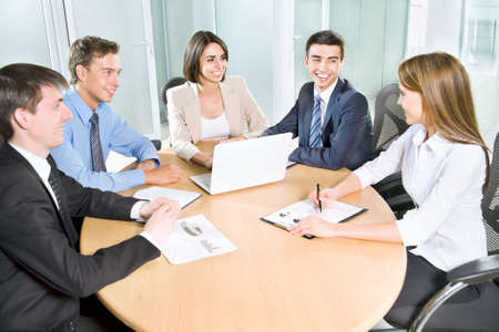 client meeting: Business people. Business team working on their business project together at office. Stock Photo