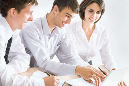 people working together: Portrait of a group of business people working together at a meeting Stock Photo