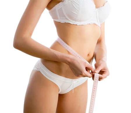Corpo da mulher sexy com fita m Imagens