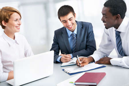 people working together: Business group meeting portrait - Business people working together. A diverse work group. Stock Photo