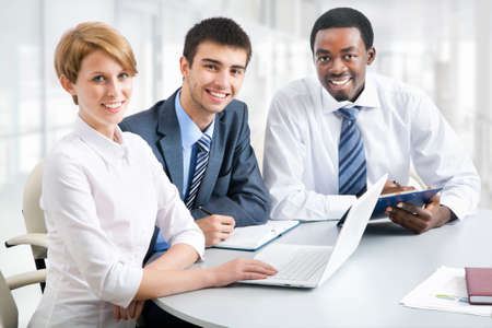 Business group meeting portrait - Business people working together. A diverse work group. Stock Photo - 19385535