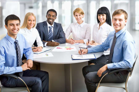 Business group meeting portrait - Business people working together. A diverse work group. Stock Photo - 19532645