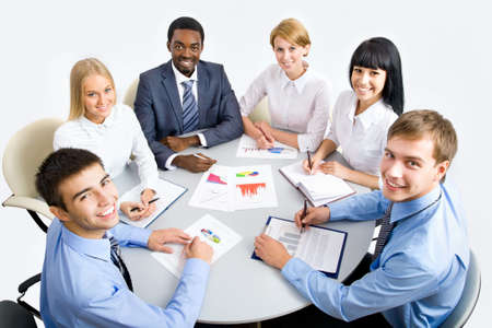 Business group meeting portrait - Business people working together. A diverse work group. Stock Photo - 19385509