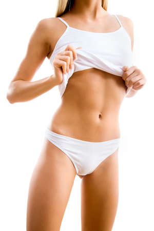 sexually: Slim woman body. Isolated on white background Stock Photo
