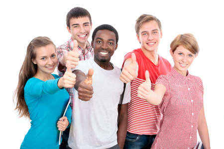 Happy international group of student shows thumb up Stock Photo - 19562750