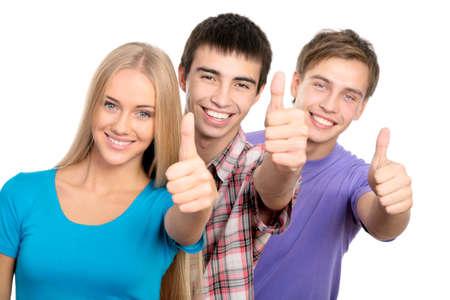 ni�os riendose: Grupo de estudiantes felices de dar la se?pulgar hacia arriba