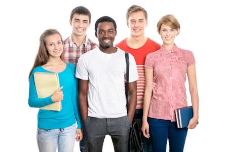 Internationale groep van gelukkige jonge studenten