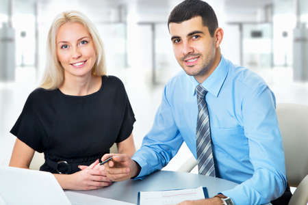 Image of businesspeople working at meeting Stock Photo