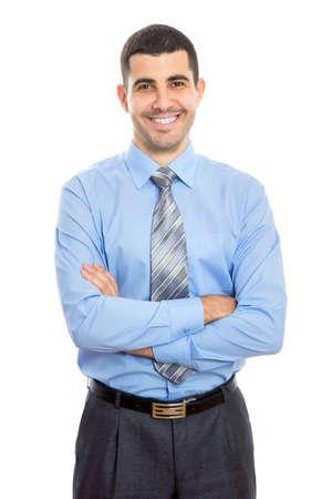 Portret van een zakenman geïsoleerd op een witte achtergrond. Stockfoto