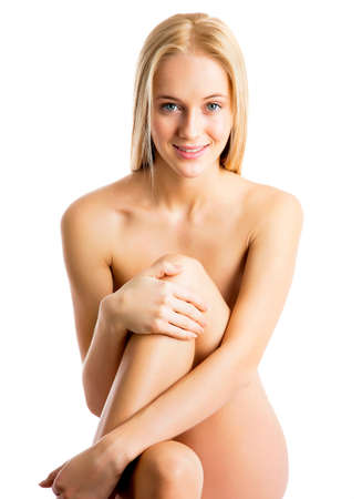 naked girl body: Beautiful naked woman with healthy clean skin on a white background