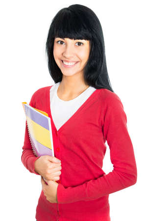 Nice female student smiling and looking at camera photo