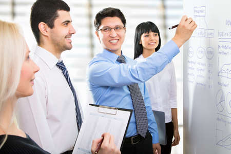 Group of business people looking at the graph on flipchart Stock Photo