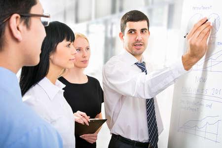 Groep van mensen uit het bedrijfsleven te kijken naar de grafiek op flipchart