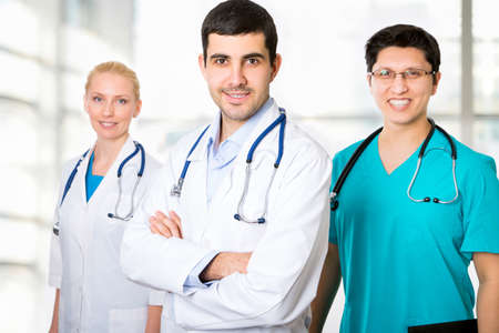 rx: Portrait of a smart young doctors standing in a hospital Stock Photo