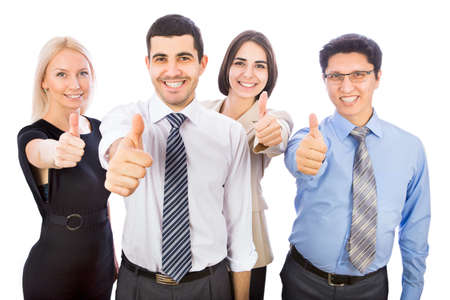 collaborator: Business team holding their thumbs up Stock Photo