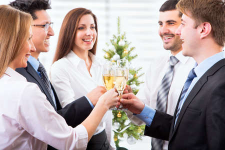 lacet: Happy people with of crystal glasses full of champagne Stock Photo